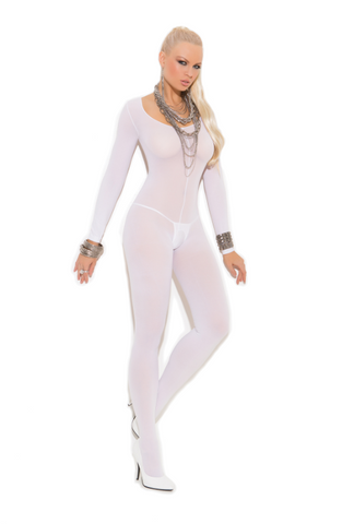 Opaque Long Sleeve Body Stocking White