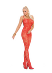 Rose Lace Bodystocking Red