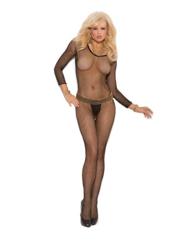 Fishnet Long Sleeve Body Stocking Black