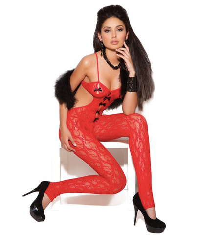 Lace Body Stocking with Bow Red