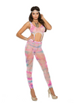 Footless Bodystocking with Clips Tie Dye