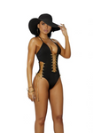 Lycra Monokini with Lace Up Black