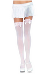 Nylon Thigh Highs with Bow Light Pink