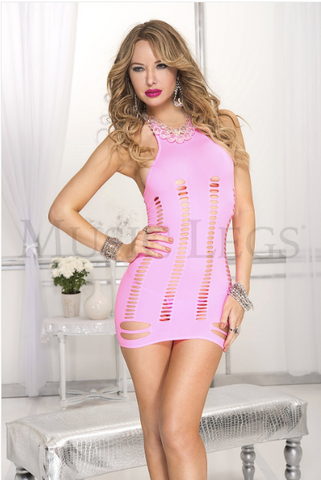 Halter Neck Mini with Oval Cut Outs - Pink