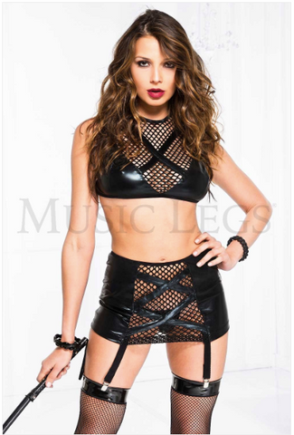 Criss Cross Fishnet Top with Garter Skirt Black - Model Express Vancouver