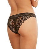Stretch Lace Panty with Criss-Cross - Black