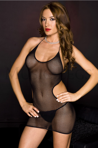 Halter Neck Fishnet Cutout Sides Mini Black - Model Express Vancouver
