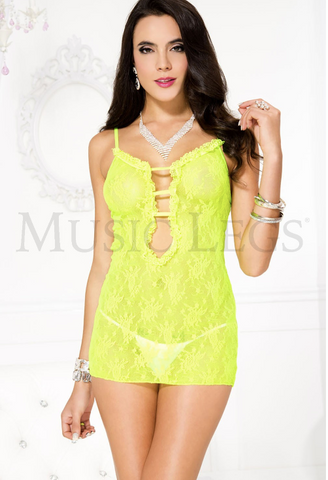 Ruffle Trim Deep-V Lace Chemise Yellow