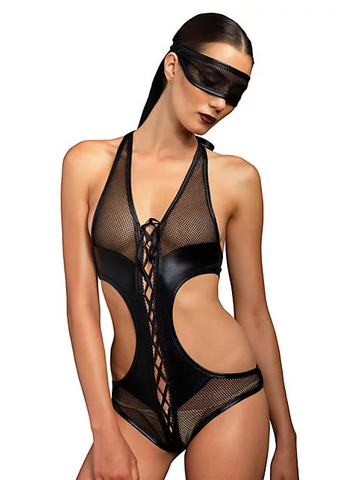 2PC Fishnet Bondage Teddy and Eye Mask Black