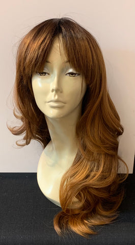 Long Loose Curl Wig with Bangs - Auburn