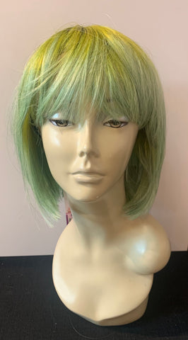 Short Bob Wig with Bangs - Yellow/Lime