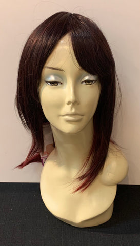 Medium Long Straight Wig with Bangs - Burgundy