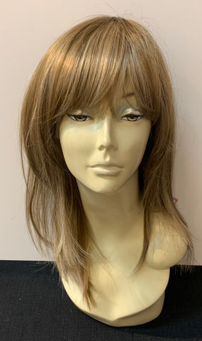 Medium Long Straight Wig with Bangs - Ash Blonde