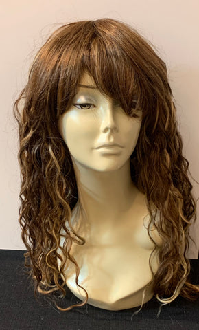 Long Tight Curl Wig with Bangs - Golden