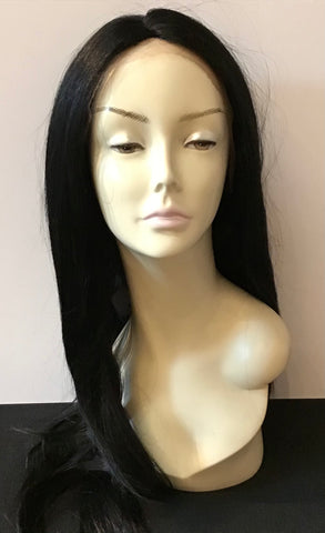 Extra Long Straight Wig with Lace Front - Black