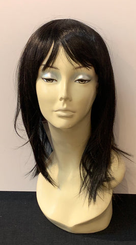 Medium Long Straight Wig with Bangs - Off Black/Copper Blonde