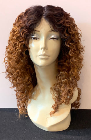 Long Tight Curl Wig with Lace Front - Auburn