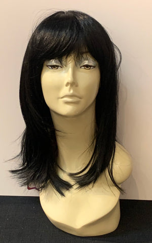 Medium Long Straight Wig with Bangs - Black