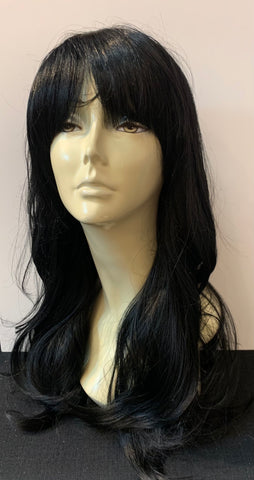 Long Loose Curl Wig with Bangs - Black