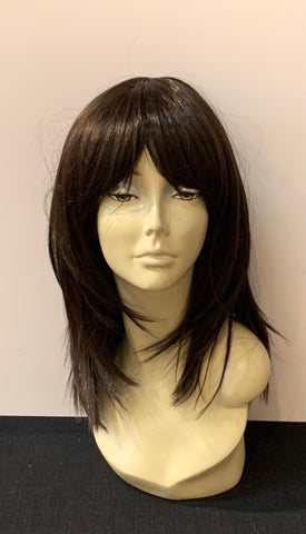 Medium Long Straight Wig with Bangs - Medium Dark Brown