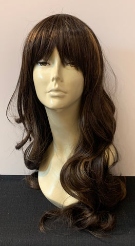 Long Loose Curl Wig with Bangs - Medium Brown/Honey Blonde