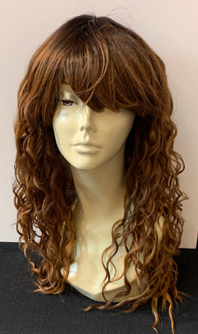 Long Tight Curl Wig with Bangs - Auburn