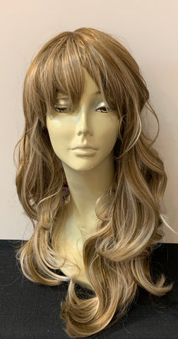 Long Loose Curl Wig with Bangs - Ash Blonde