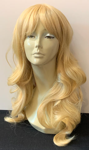 Long Loose Curl Wig with Bangs - Tan Blonde