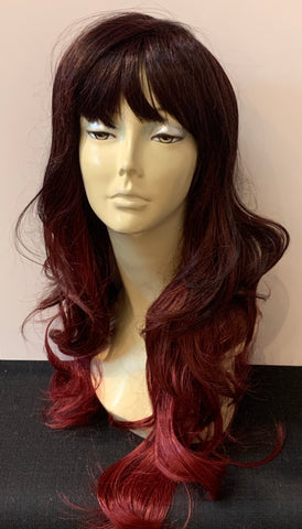 Long Loose Curl Wig with Bangs - Burgundy