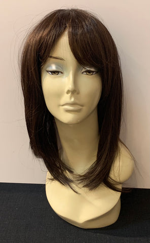 Medium Long Straight Wig with Bangs - Medium Brown/Copper Blonde