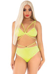 2 Pc. Cage Strap Bra and Strappy Panty Yellow