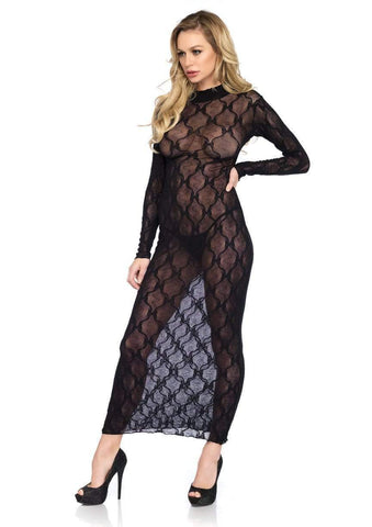 Bow Lace Long Sleeved Long Dress Black
