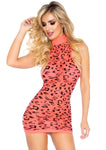 High Neck Neon Sheer Cheetah Mini Dress Coral