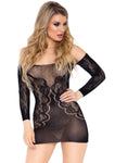 Long Sleeve Off the Shoulder Lace Mini Dress Black - Model Express Vancouver