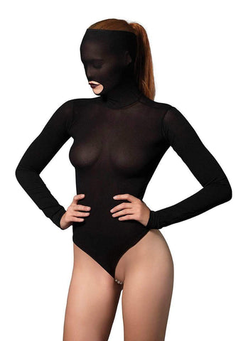 Opaque Masked Teddy with Beaded G-String Black - Model Express Vancouver