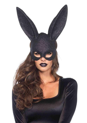 Masquerade Rabbit Mask Glitter - Black