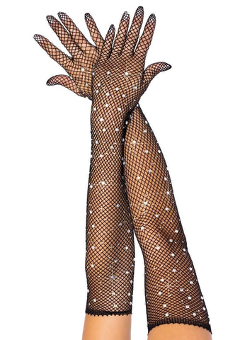 Rhinestone Fishnet Opera Length Gloves Black