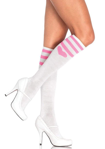 Sweetheart Knee Socks White