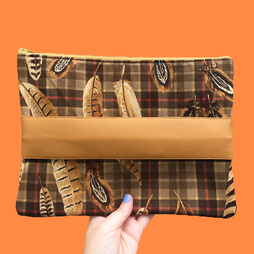 Tan Plaid Feather Clutch