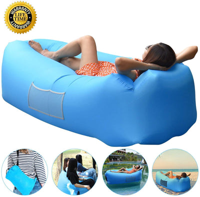 AngLink Inflatable Lounger, Portable Air Sofa Couch bed Nylon Waterproof Durable Foldable with Carry Bag for Indoor/Outdoor Lounging Summer Hiking Camping Beach Fishing Park Travelling
