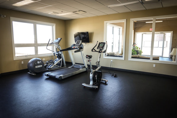 Room with treadmill and elliptical machines