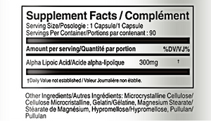 Alpha Lipoic Acid 300m - Vorst Supplements and Vitamins Supplement facts table