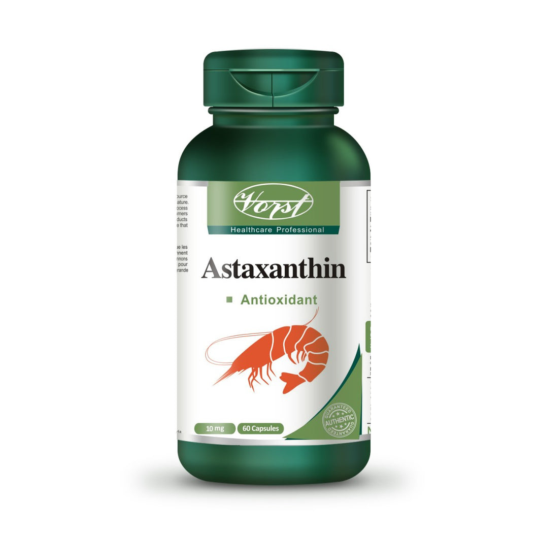 Bottle of Astaxanthin 10mg 60 Capsules - Vorst Supplements and Vitamins