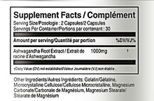 Load image into Gallery viewer, Ashwagandha 500mg 60 Capsules - Vorst Supplements and Vitamins - Supplement Facts