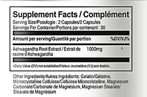 Ashwagandha 500mg 60 Capsules - Vorst Supplements and Vitamins - Supplement Facts