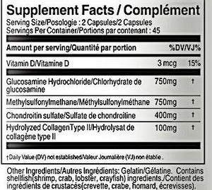 Joint Q Advanced Formula-  Glucosamine Chondroitin MSM Collagen Vitamin D3 1000mg 90 Capsules