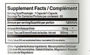 Supplement Facts of Astaxanthin 10mg 60 Capsules - Vorst Supplements and Vitamins