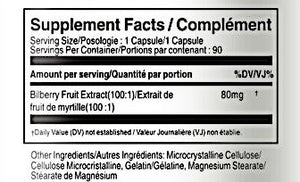 Vorst Supplements and Vitamins Bilberry Extract 8000mg Supplement Facts