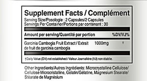 Supplement Facts Garcinia Cambogia 1000mg - Vorst Supplements and Vitamins