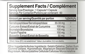 Supplement Facts Serrapeptase 80,000 SU 60 Capsules with Turmeric Bromelain Papain Boswellia bottle